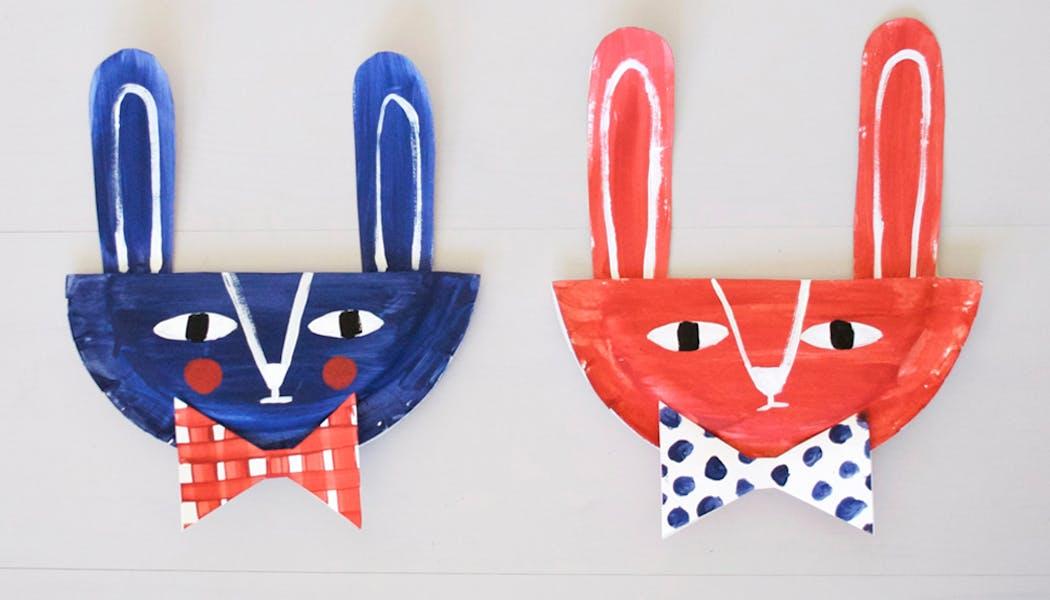 bricolage masques lapins assiette en carton