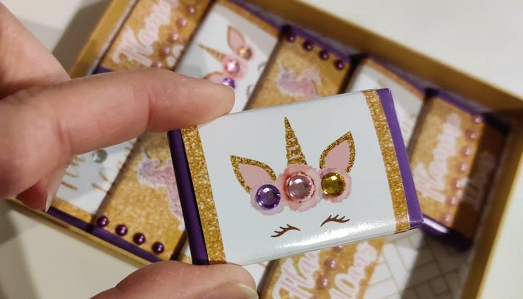 Des mini tablettes choco thème licorne
