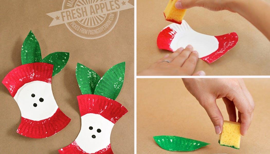 bricolages pommes assiettes en carton