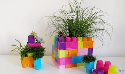 Des pots de fleurs en briques jouet