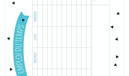 Emploi du temps à imprimer bleu et noir