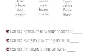 Exercice : la liste d'Halloween