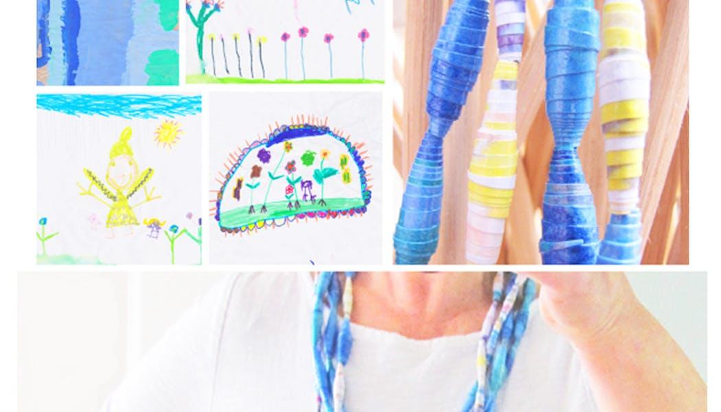 Fabriquer un collier à partir de dessins       d'enfants