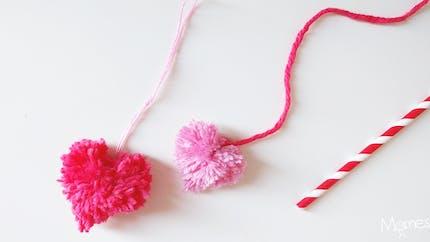 Faire des pompons en forme de coeur