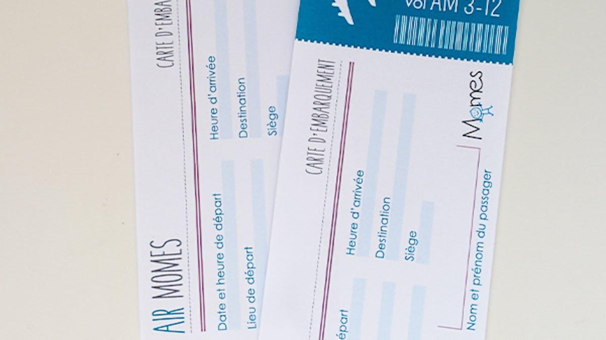 faux billet d'avion vierge à imprimer