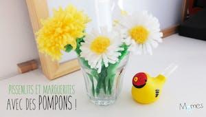Fleurs en laine : pissenlit et marguerite