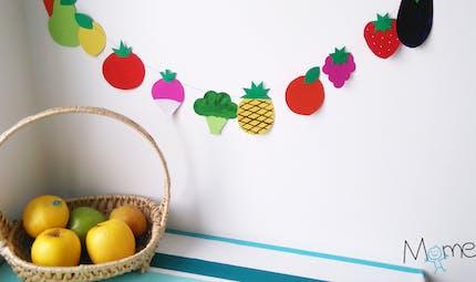 Guirlande de fruits et légumes en papier