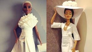 Il crée d'incroyables robes de Barbie avec du papier toilette et des serviettes en papier !
