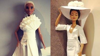Jian Yang fabrique des robes pour Barbie avec du papier       toilette