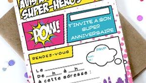 Invitation anniversaire Super héros Fille