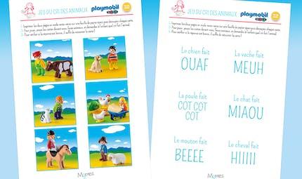 Jeu du cri des animaux Playmobil 123 à imprimer