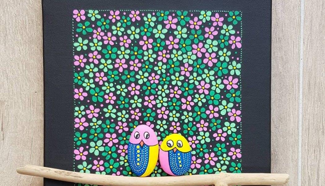 Joli tableau avec des galets