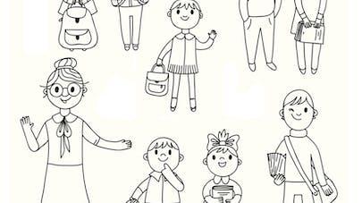 coloriage école élèves