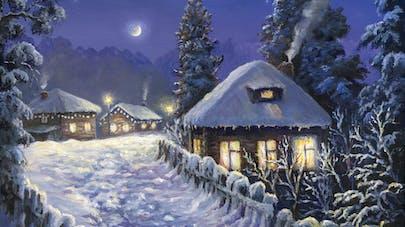 Maison village sous la neige