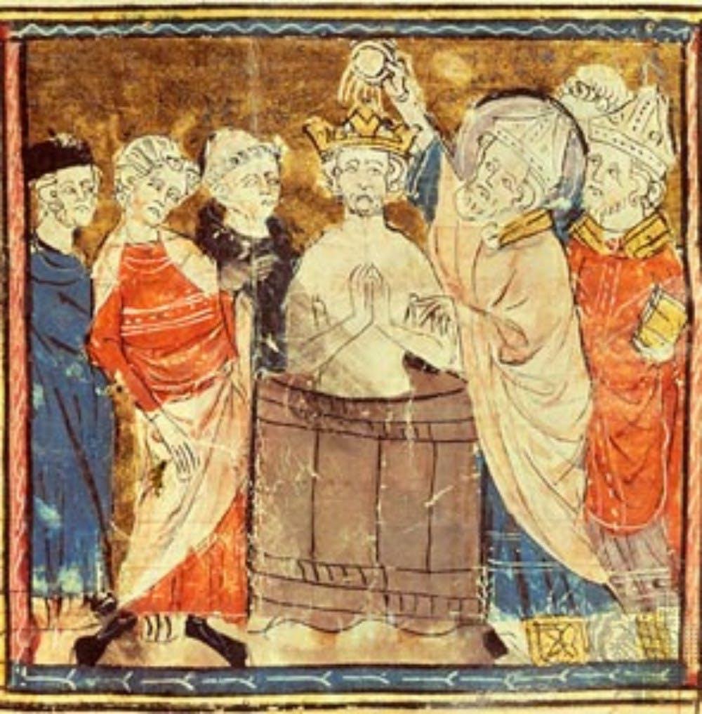 Miniature - Grandes chroniques de France - Baptême - Clovis - Francs - Haut Moyen-Âge - SchoolMouv - Histoire - CM1