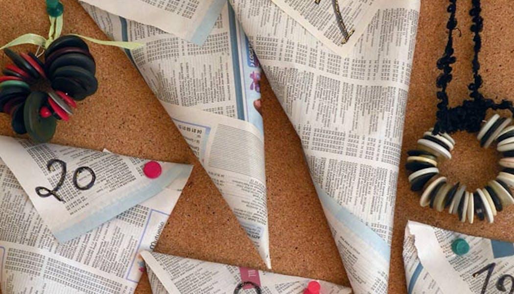 Le calendrier de l'Avent en papier journal