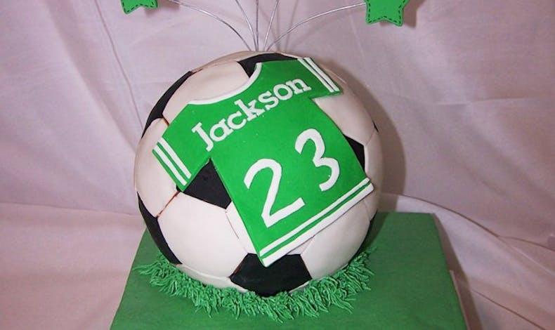 Le gateau d'anniversaire football