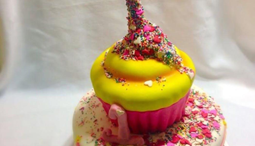 Le Gravity Cake jaune et rose pétillant