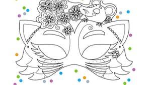 Le masque du chat et de la souris à colorier