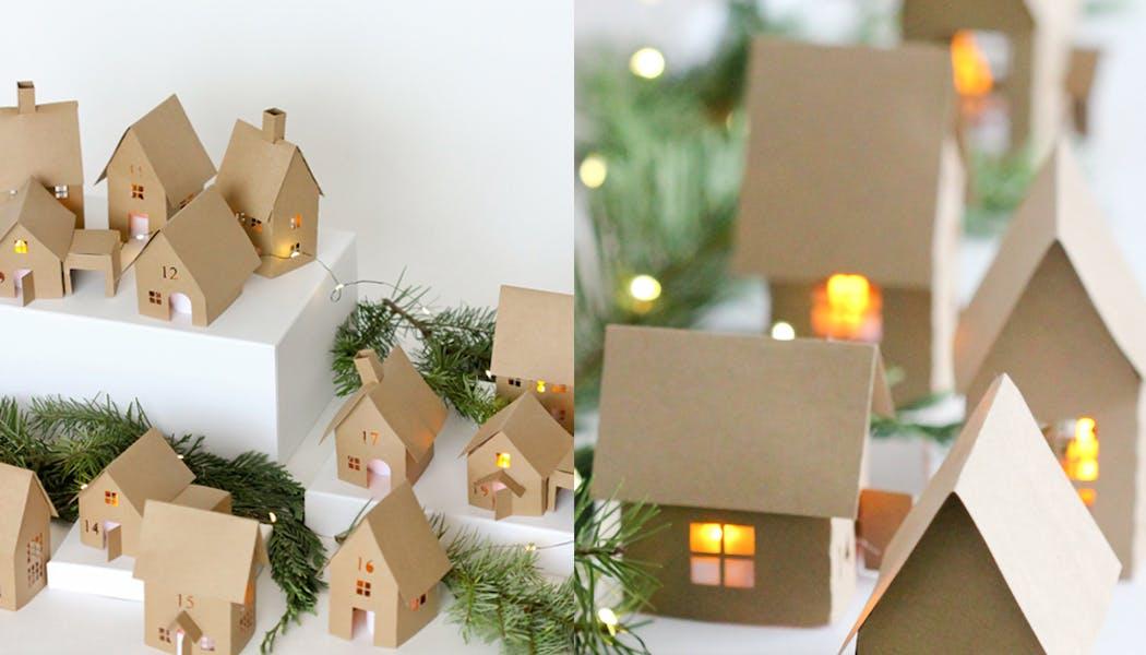 calendriers de l'avent fait maison calendrier village         illuminé