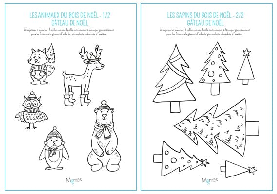 Les animaux des bois pour un joli gâteau de Noël