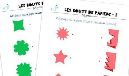Les bouts de papier : observation et correspondance des formes