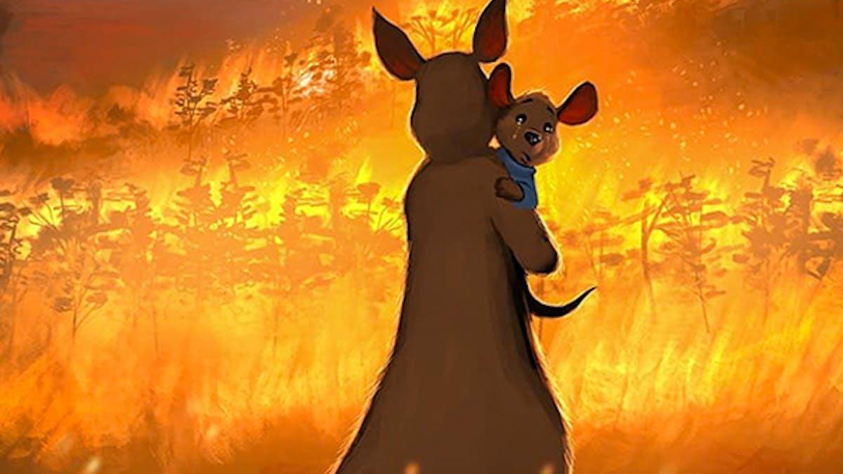 illustrations en hommage Australie incendies mégafeu       solidarité animaux