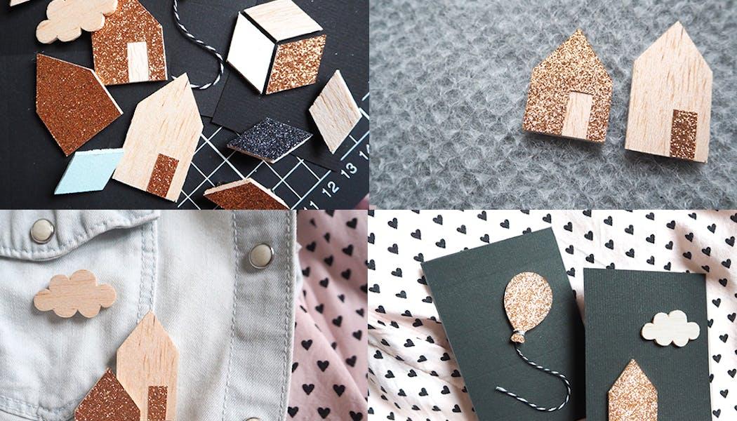 idées cadeaux Noël DIY bricolages faire soi-même les         jolies broches en bois balsa