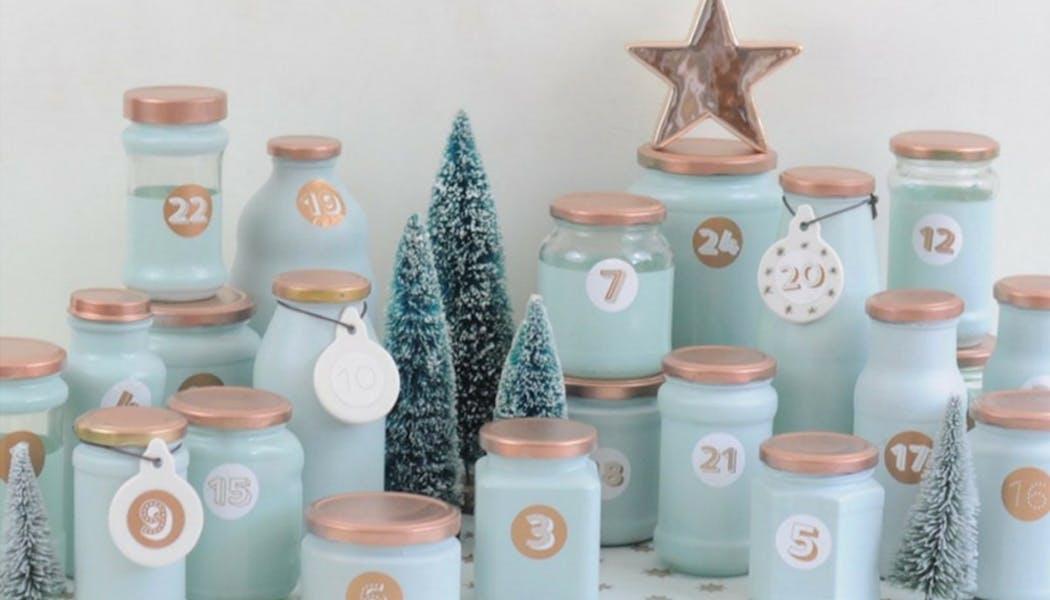 calendriers de l'avent fait maison calendrier bocaux         verre recyclés