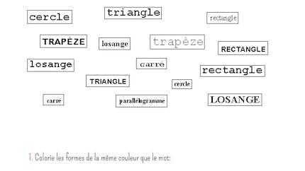 Les noms des formes géométriques