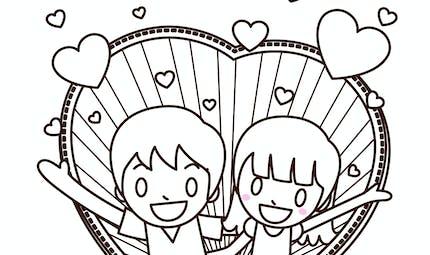 Les p'tits Valentin à colorier