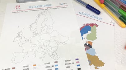 Les pays d'Europe - Carte à colorier