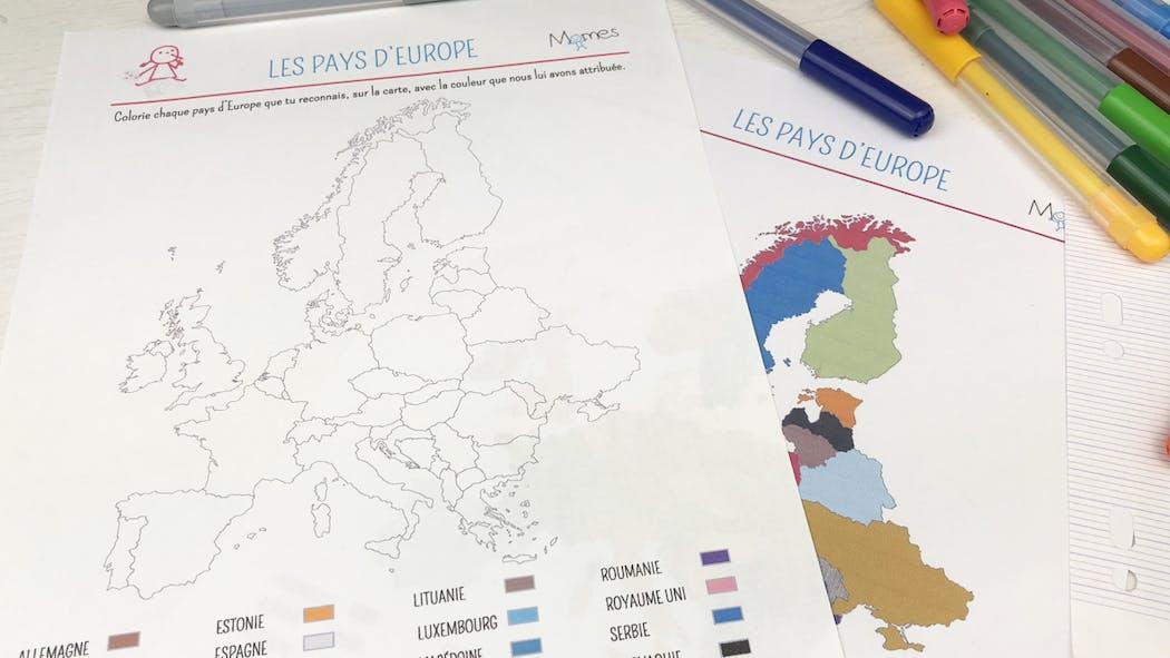 Les pays d'Europe - Carte à colorier