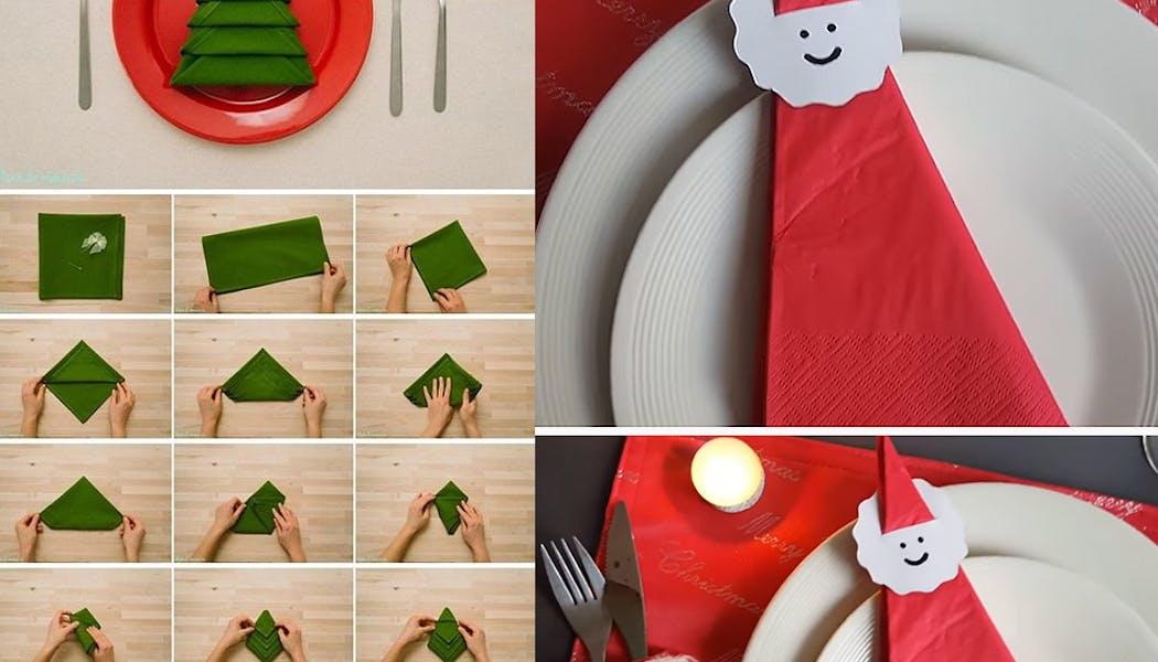 idées décorations Noël rapides simples faciles         dernière minute serviettes Père-Noël et sapin de Noël