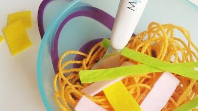 spaghettis en laine dinette