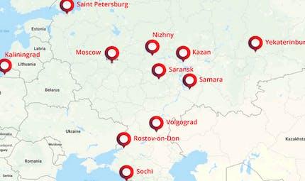 Les stades du Mondial de football 2018 en Russie
