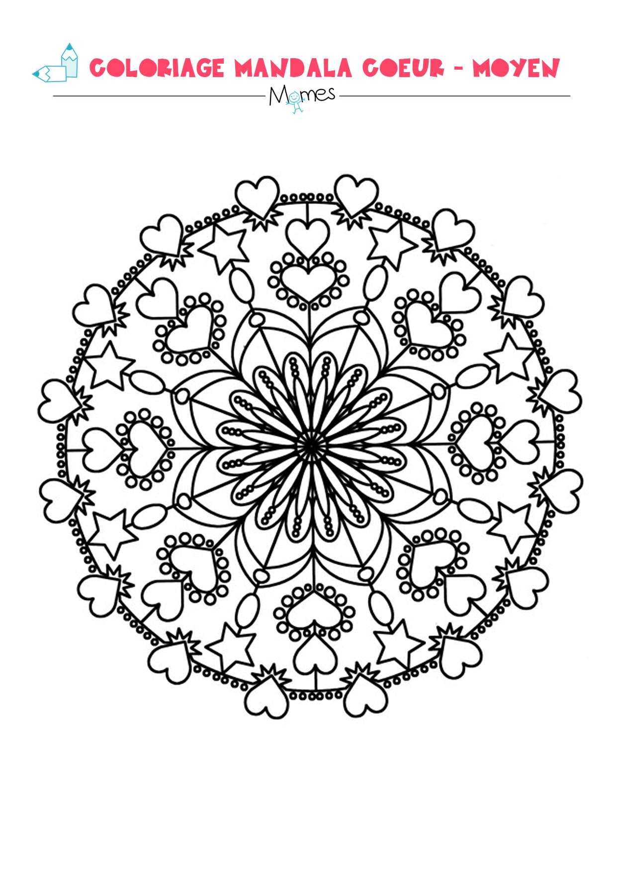 Mandala Coeur à colorier   Moyen   MOMES.net