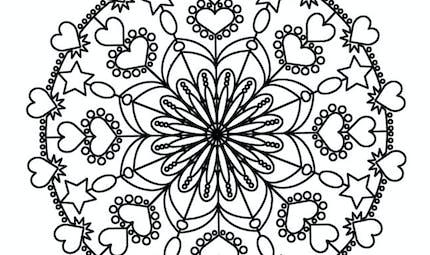 Mandala Coeur à colorier - Moyen