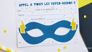 Masques invitations anniversaire Super Héros
