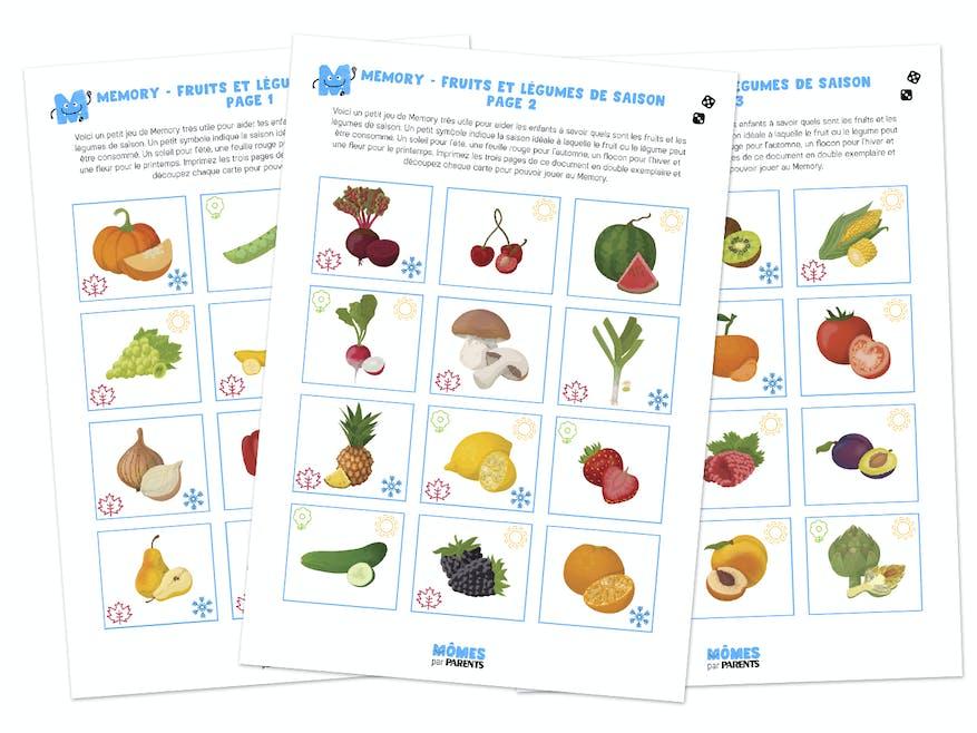 Memory à imprimer : Les 4 saisons des fruits et légumes   MOMES.net