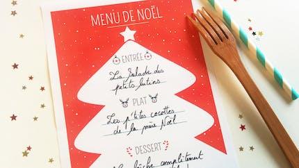 Menu de Noël à imprimer : Sapin rouge et blanc
