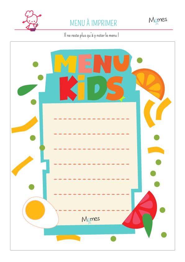 Menu Enfants A Imprimer Momes Net