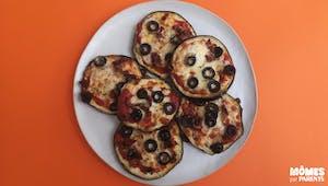 Mini pizzas aubergine