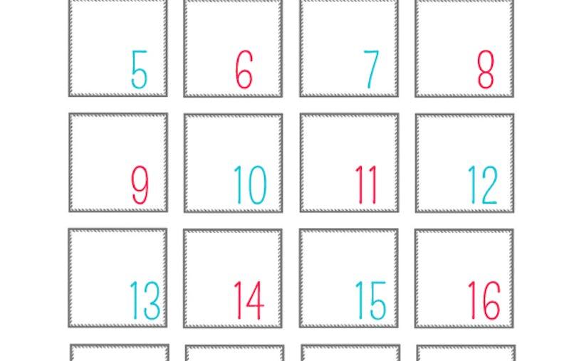 Modèle pour calendrier de l'avent