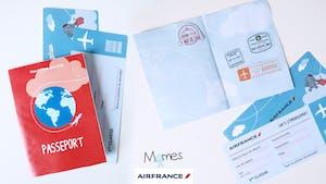 Mon passeport et ma carte d'embarquement pour de faux