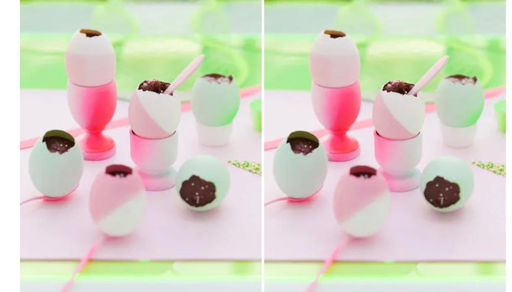 Œufs multicolores chocolat et caramel