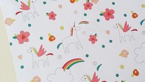 Papier à motifs licornes à imprimer