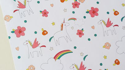 papier motif licorne