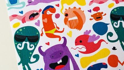 Papier à motifs Monstres à imprimer