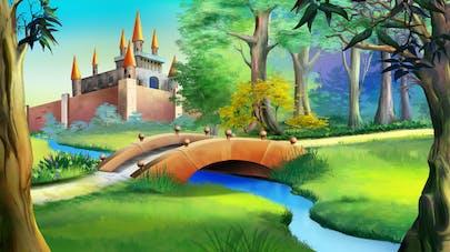 Illustration château et forêt